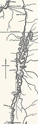Montreal Drawing - Map Of Lake Champlain by American School