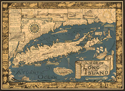 Long Island Drawing - Map Of Li From 1933 by Courtland Smith