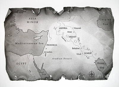 Ancient Civilization Drawing - Map Of Mesopotamia by Miro Gradinscak