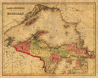 Michigan Mixed Media - Map Of Michigan Upper Peninsula And Lake Superior Vintage Circa 1873 On Worn Distressed Canvas  by Design Turnpike