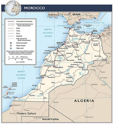 Map Of Morocco Print by Roy Pedersen