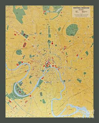Moscow Drawing - Map Of Moscow The Capital Of Russia by Pd