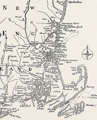 Map Of New England At The Beginning Of The Eighteenth Century Print by American School