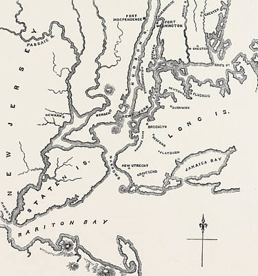 Long Island Drawing - Map Of New York And Vicinity by American School