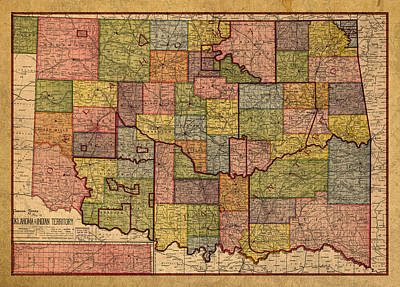Old Mixed Media - Map Of Oklahoma Vintage Antique Of Worn Canvas 1905 by Design Turnpike
