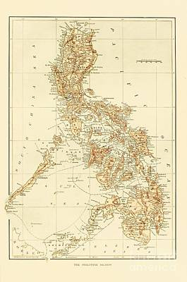Pd Drawing - Map Of Philippine Islands by Pg Reproductions