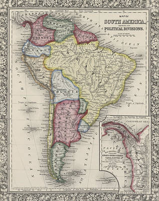 Border Drawing - Map Of South America by Samuel Augustus Mitchell