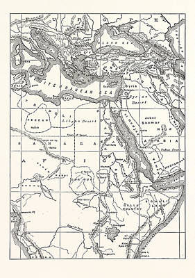 Sahara Drawing - Map Of South Eastern Europe Western Asia And Northern Africa by English School