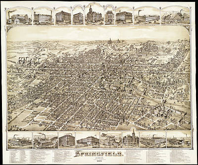 1884 Drawing - Map Of Springfield Ohio 1884 by Mountain Dreams