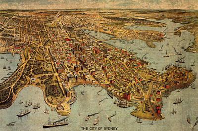 Map Of Sydney Australia Vintage Birds Eye View Schematic Circa 1888 On Worn Parchment Print by Design Turnpike