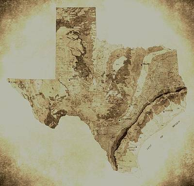 Map Of Texas In Vintage Print by Sarah Broadmeadow-Thomas