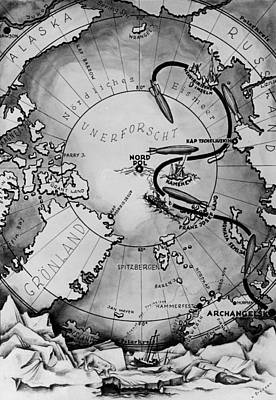 Balloon Drawing - Map Of The Arctic Voyage Of The Airship Lz 127 Graf Zeppelin, 1931 by German School