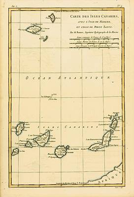Canary Drawing - Map Of The Canary Isles, Madeira And by Vintage Design Pics