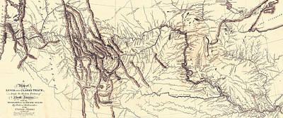Country And Western Drawing - Map Of The Lewis And Clark American Expedition by American School