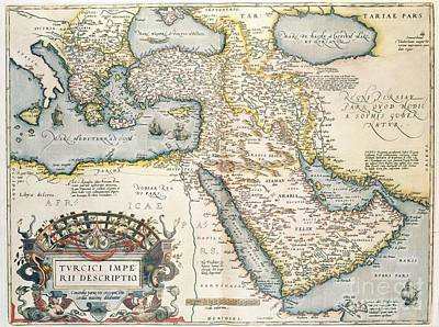 Red Drawing - Map Of The Middle East From The Sixteenth Century by Abraham Ortelius