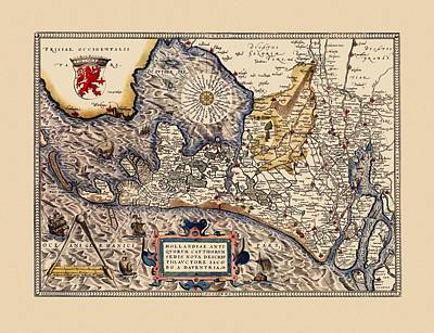 Map Of Netherlands Photograph - Map Of The Netherlands 1574 by Andrew Fare