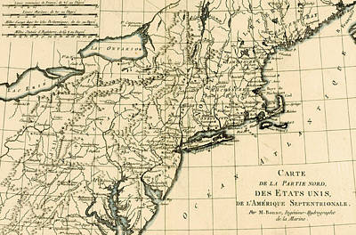 Long Island Drawing - Map Of The North East Coast Of America by Guillaume Raynal