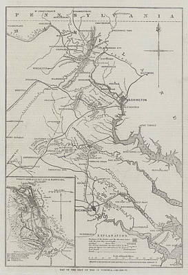 Virginia Drawing - Map Of The Seat Of War In Virginia by John Dower