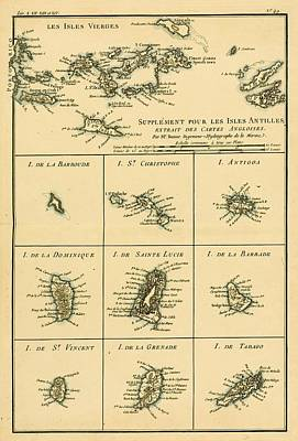 West Indies Drawing - Map Of The Supplementary West Indies by Vintage Design Pics
