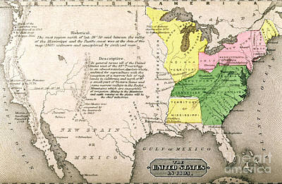 Country Schools Painting - Map Of The United States by John Warner Barber and Henry Hare