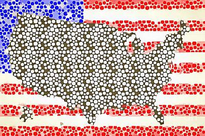 Us Flag Mixed Media - Map Of The United States Of America Pop Art by Edward Fielding
