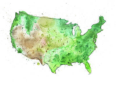 Map Of The United States With Watercolor Texture Original by Andrea Hill