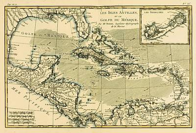 West Indies Drawing - Map Of The West Indies And The Mexican by Vintage Design Pics
