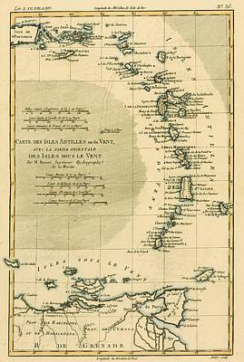 West Indies Drawing - Map Of The West Indies, Circa.1760 by Vintage Design Pics