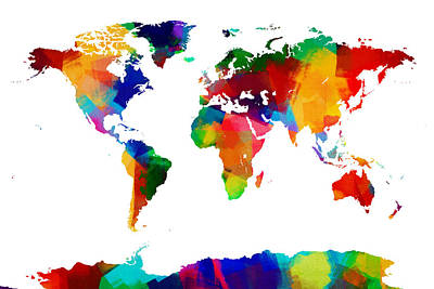 Map Of The World Map Painting Print by Michael Tompsett