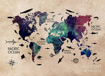 Map Of The World Oceans Print by Justyna JBJart