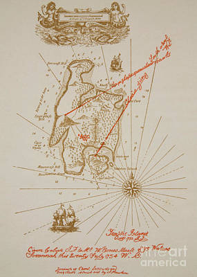 Extinct And Mythical Drawing - Map Of Treasure Island by Newell Convers Wyeth