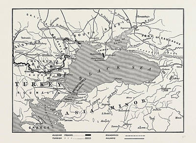 Turkey Drawing - Map Of Turkey And Southern Russia by English School