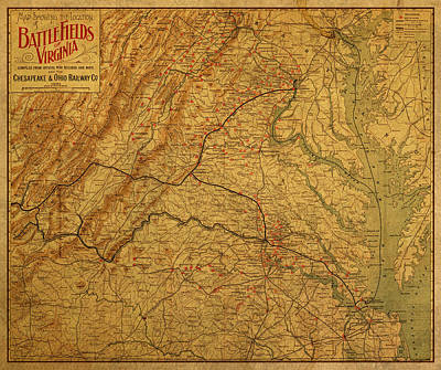 Battlefield Mixed Media - Map Of Virginia Battlefields Civil War Circa 1892 On Worn Distressed Vintage Canvas by Design Turnpike