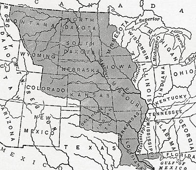 Map Showing The Louisiana Purchase Print by American School