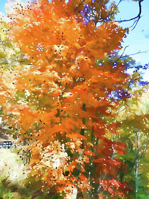 Red Painting - Maple Tree In Autumn by Lanjee Chee