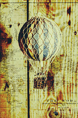 Mapping A Hot Air Balloon Print by Jorgo Photography - Wall Art Gallery