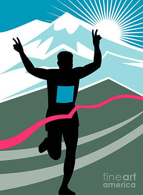 Sprinting Digital Art - Marathon Race Victory by Aloysius Patrimonio