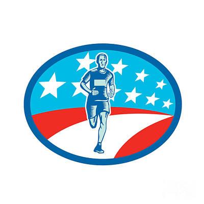 Marathon Runner Usa Flag Oval Woodcut Print by Aloysius Patrimonio