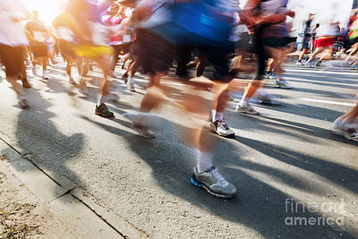 Athletic Photograph - Marathon Runners In Motion by Michal Bednarek