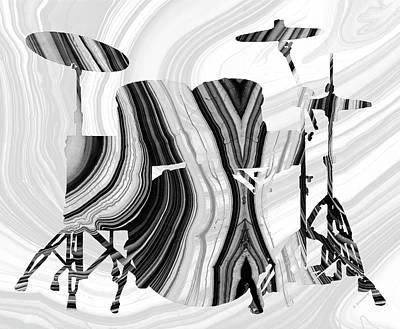 Drum Painting - Marbled Music Art - Drums - Sharon Cummings by Sharon Cummings