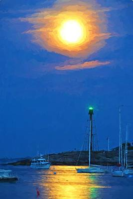 Marblehead Light Tower Supermoon Van Gogh Style Print by Toby McGuire