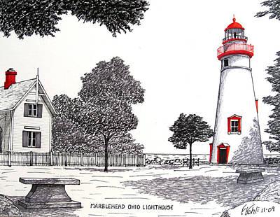 Marblehead Ohio Lighthouse Drawing Print by Frederic Kohli