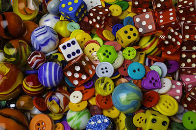 Marbles Dice Buttons Assortment Print by Garry Gay