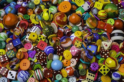 Marbles Dice Buttons Collection Print by Garry Gay