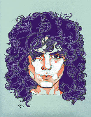 T Rex Drawing - Marc Bolan by Suzanne Gee