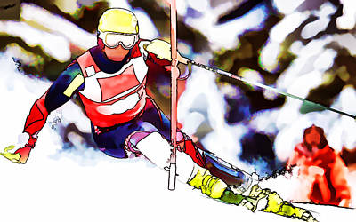 Skiing Action Painting - Marcel Hirscher Skiing by Lanjee Chee