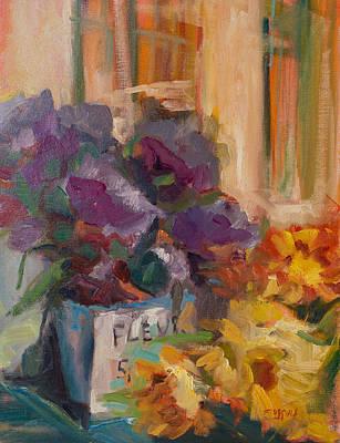 Europe Provence Aix-en-provence Painting - Marche' Aux Fleurs by Sue Scoggins