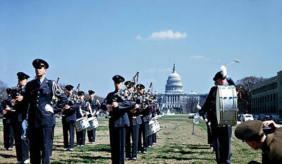 Music Photograph - Marching Band At Capitol 1951 by Marilyn Hunt