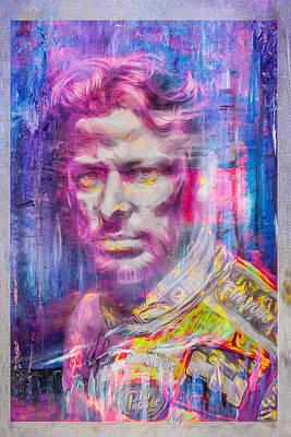 Marco Andretti Digitally Painted Portrait Print by David Haskett