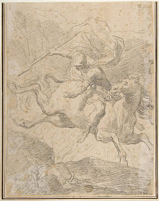Drawing - Marcus Curtius Leaping Into The Chasm by Gaetano Gandolfi